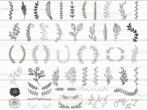 48 Leaves Svg/ Hand drawn leaves svg / Cut Files/ Files for Cricut / Silhouette / Clipart / Vector