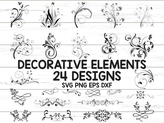 Decorative Ornaments SVG/ Vine SVG/ Swirls Svg/ Clipart/ Cut Files/ Cricut/ Silhouette/ Vector