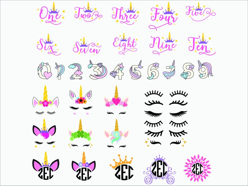 Unicorn Numbers Head Monogram Princess SVGEPSPNG Printable filesClipart Sihlouette files Cuttable files Vector files digital