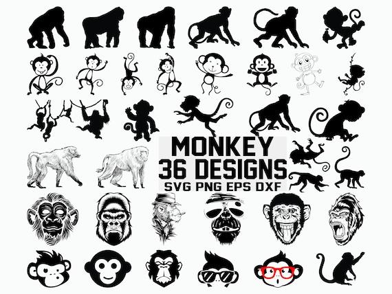 Monkey Svg Gorilla Svg Clipart Cricut Cut Files Etsy