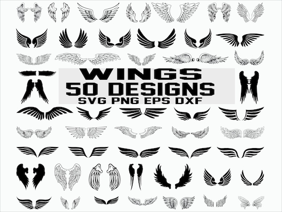 Wings svg / angel wings / wings cut file / wing svg / angel svg / cut file / cricut / clipart / silhouette files /stencil file /vector