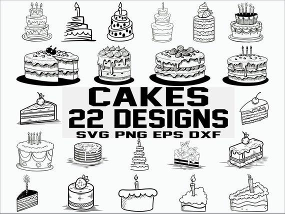 Cakes svg/ birthday svg/ dessert svg/ baking svg/ wedding svg/ clipart/  silhouette/ cut file/ cricut