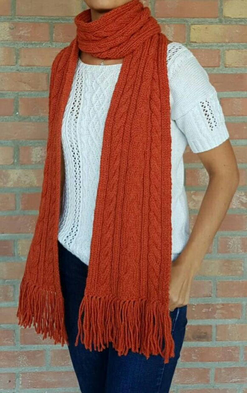 64a16b8b83 Long thick wool and alpaca knit scarf with cable for women or men.