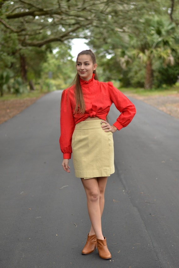 Vintage Red Ruffle Rider Blouse