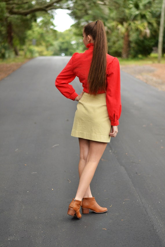 Vintage Red Ruffle Rider Blouse - image 3