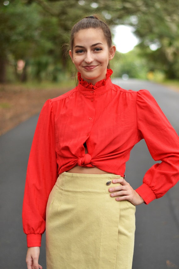 Vintage Red Ruffle Rider Blouse - image 2