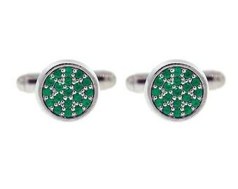 18k white gold emerald cufflinks redondo