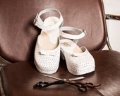 White Leather Shoes Women, Swedish Clogs, Handmade Low Heel Rubber Clogs and Mules, Mary Jane Shoes - Jill