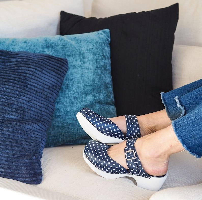 Slip On Sandal Clog Inga Soft Low Heel Clog Mules Poka Dot Shoes Blue Clogs Swedish Clogs for Women