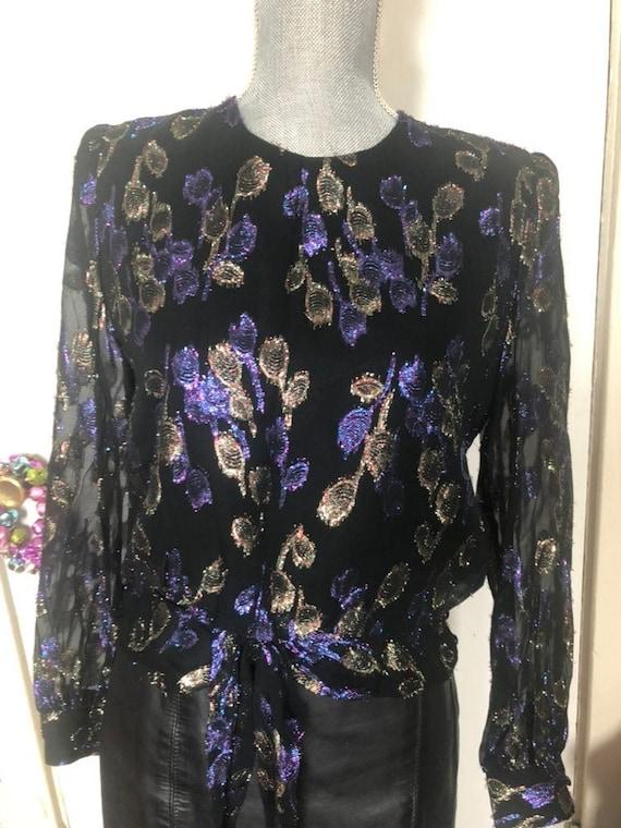 e16110485223f Gorgeous 80s metallic blouse by Hal Furman.