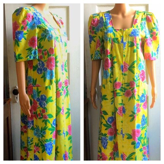 1980s Ruth Norman Caftan | 1980s Floral Caftan | V
