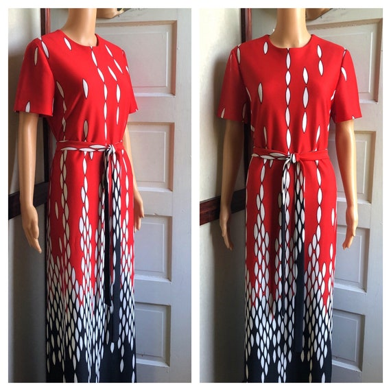1960s Mod Maxi Dress | 60s Red and Black Maxi Dres