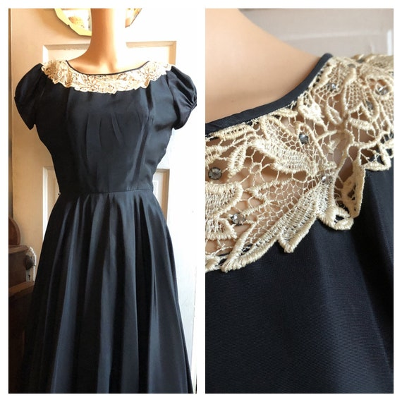 1950s Black Cocktail Dress with Lace and Rhineston