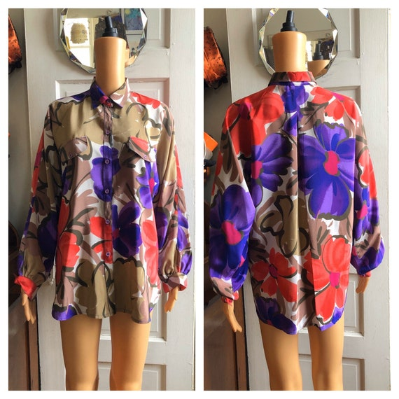 1980s Floral Shirt | 1980s Tan Purple Orange Shirt