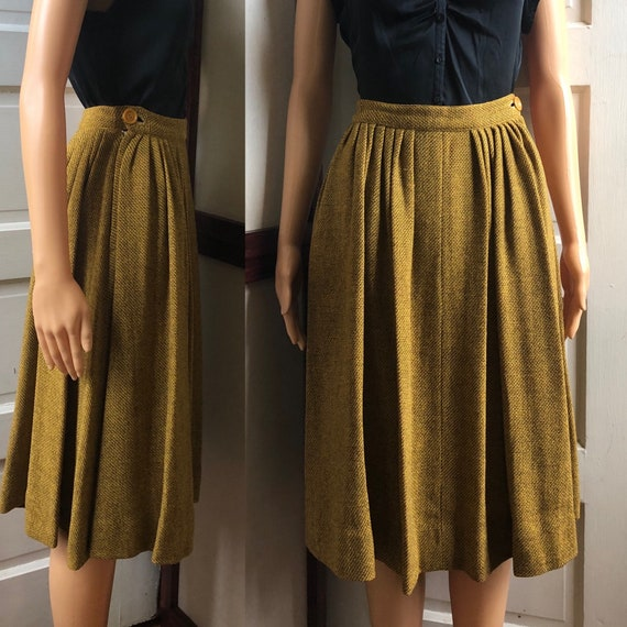 1950s Yellow and Brown Wool Skirt | 50s Gold Pleat