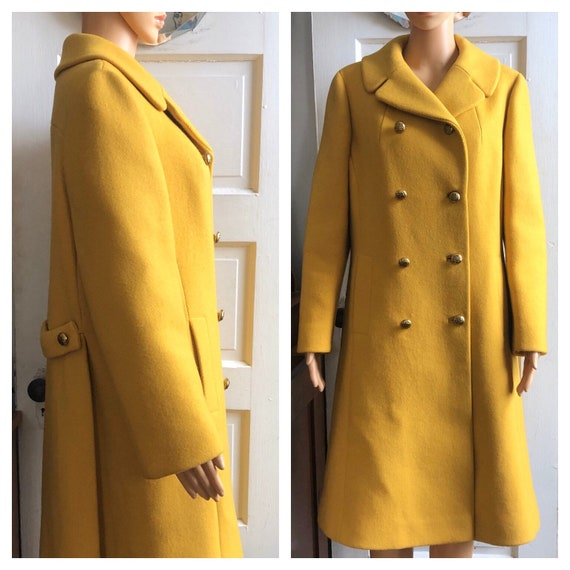 1960s Yellow Wool Coat | 1960s Swing Coat | 1960s