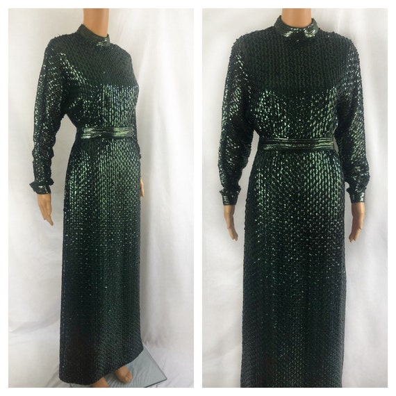 1970s Sequin Maxi Dress | 70s Sequin Hostess Dress