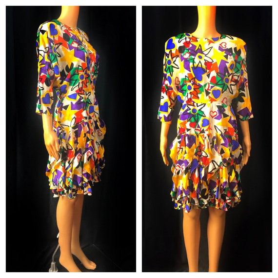 1980s Pop Art Dress | 80s Graphic Print Dress | 80