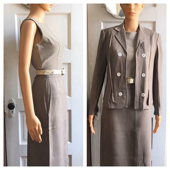 1960s Women's Linen Suit | 1960s Skirt Set| 1960s