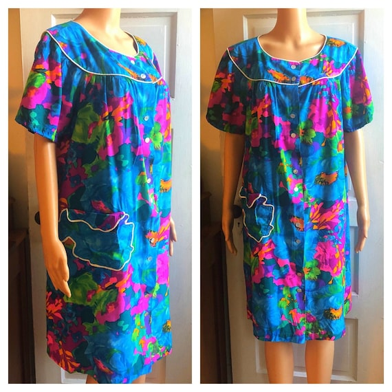 1960s Floral Housedress   1960s Mod Housedress   1