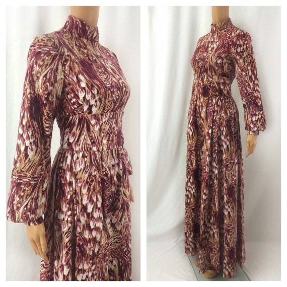 1960s George Halley Velvet Gown   60s Feather Prin