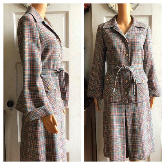 1960s Windsmoor Skirt Set | 60s Checked Skirt Suit