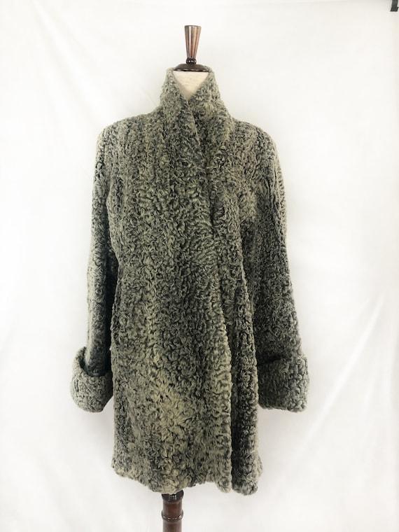 1940s Persian Lamb Wool Coat | 40s Silver Persian… - image 6