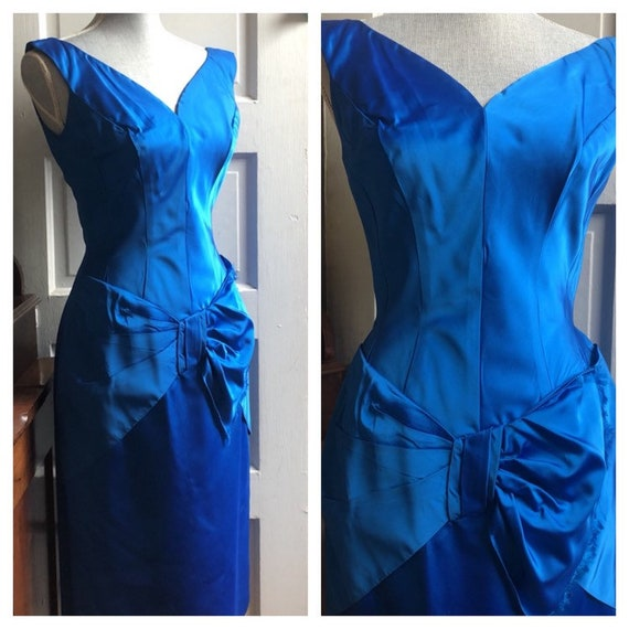 1960s Blue Cocktail Dress | 1960s Blue Satin Dress