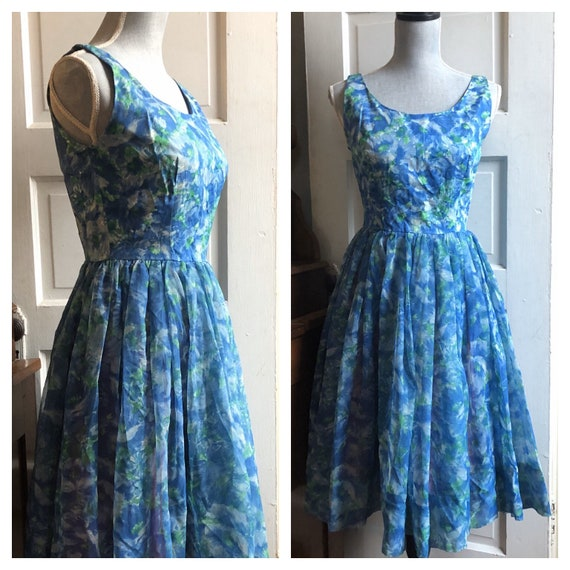 1950s Blue and Green Floral Chiffon Party Dress