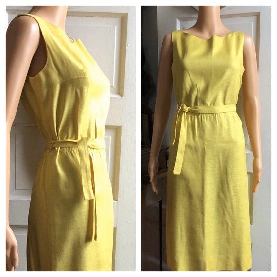 1960s Tank Dress | 60s Linen Dress | 60s Yellow Dr
