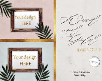 Download Free Wood Photo Frames Mockup - Poster Mockup - Retro Scene Mock Up - Wood and Gold Digital Frames - Rustic - Tropical Scene Palm Leafs Mockup PSD Template