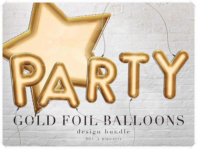 Gold Foil Balloons Letters Clipart  Decorative Alphabet Clip image 0