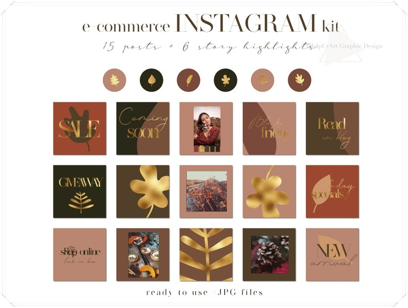 Instagram Posts Pack  Terracotta and Gold  Story Highlights image 0