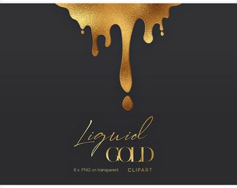 Dripping Gold Borders Clipart - Dripping Borders - Gold Clip Art - Gold Borders - Luxury Clipart - Metallic Gold Clipart - Liquid Gold