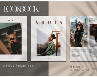 LookBook Canva Template - Editable Template - DIY - Fashion LookBook Template -  E-Commerce - Customizable Magazine Template for Canva