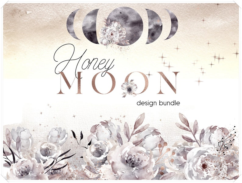 Watercolor Moon Phases Design Bundle  Moons and Flowers image 0