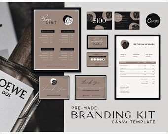 Branding Kit Templates - Editable Canva Template - Printable Price List Loyalty Card Gift Card Templates - Customizable Stationery Template