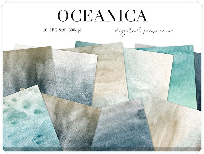 Teal Watercolor Papers  Ombre Watercolor Washes Paper Pack  image 0