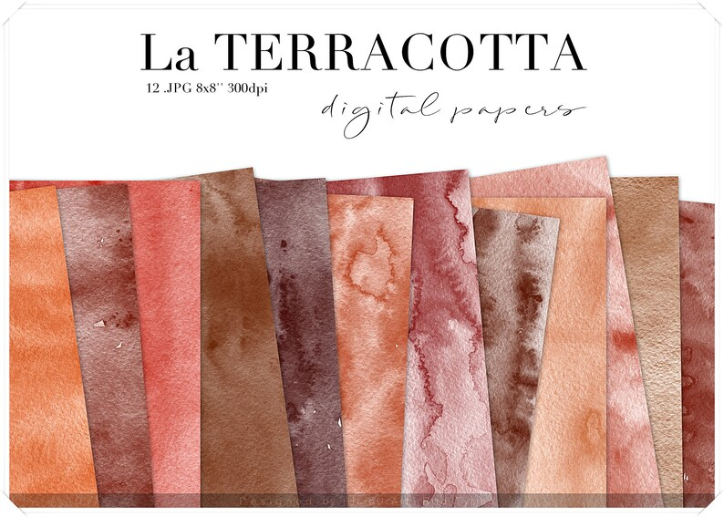 Terracotta Watercolor Washes Digital Paper  Abstract image 0