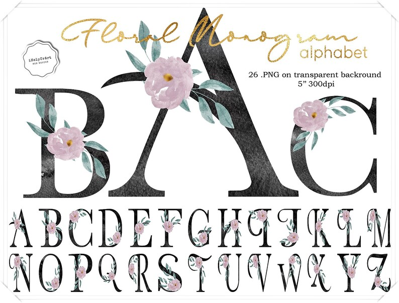 Watercolor Floral Monogram Letters Alphabet Clipart Blush Pink And Charcoal Letters With Flowers Decorative Letters Wedding Monogram