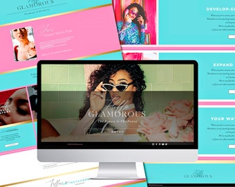 WIX Site Template - Beauty Blogger Theme - Wix Site Design - Fashion Website - Glamorous Website Template - Hot Pink WIX Blog Template