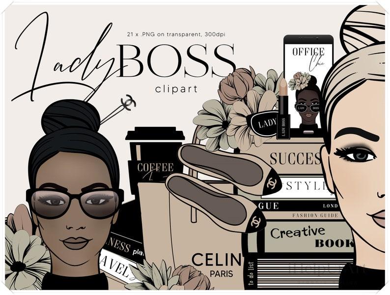 Girl Boss Clipart  Fashion Illustration Clip Art  Luxury image 0