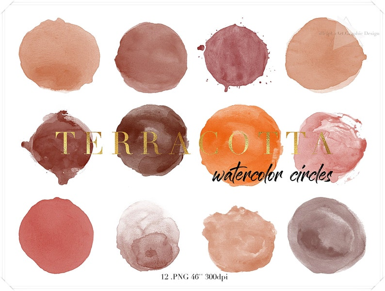 Terracotta Watercolor Circles Clipart  Earth Colors  image 0