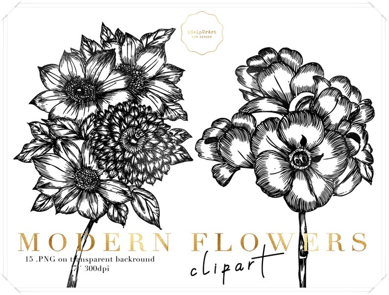 Modern Flowers Clipart Floral Clip Art Black And White Etsy
