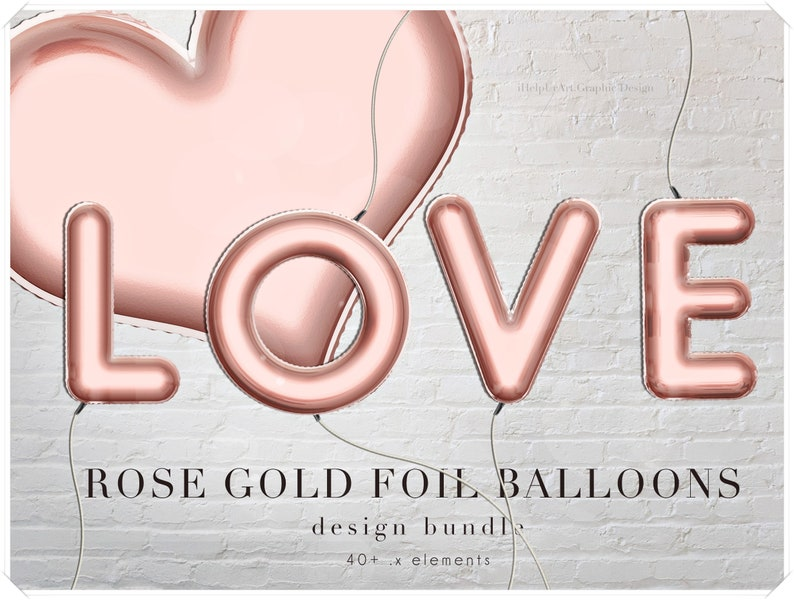 Rose Gold Foil Balloons Letters Clipart  Decorative Alphabet image 0