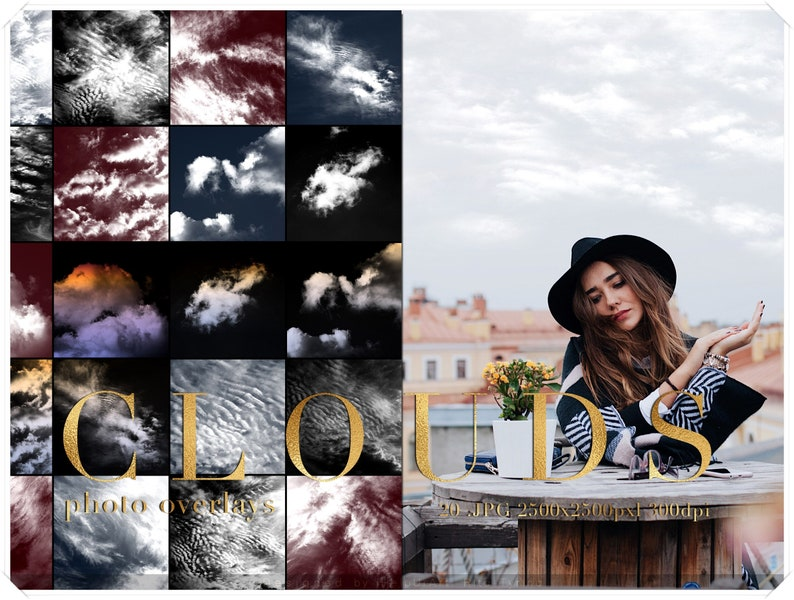 Realistic Clouds Photo Overlay  Cloudy Sky Photo Filter  image 0