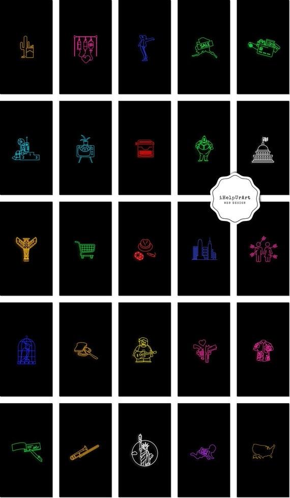 Neon Instagram Story Highlight Covers Neon Lights Insta Etsy