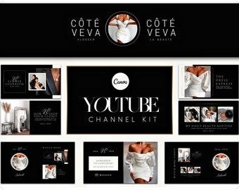 YouTube Channel Art  - YouTube Kit - Editable Canva Template - Luxury Branding Kit - YouTube Canva Template - Video Thumbnails Templates