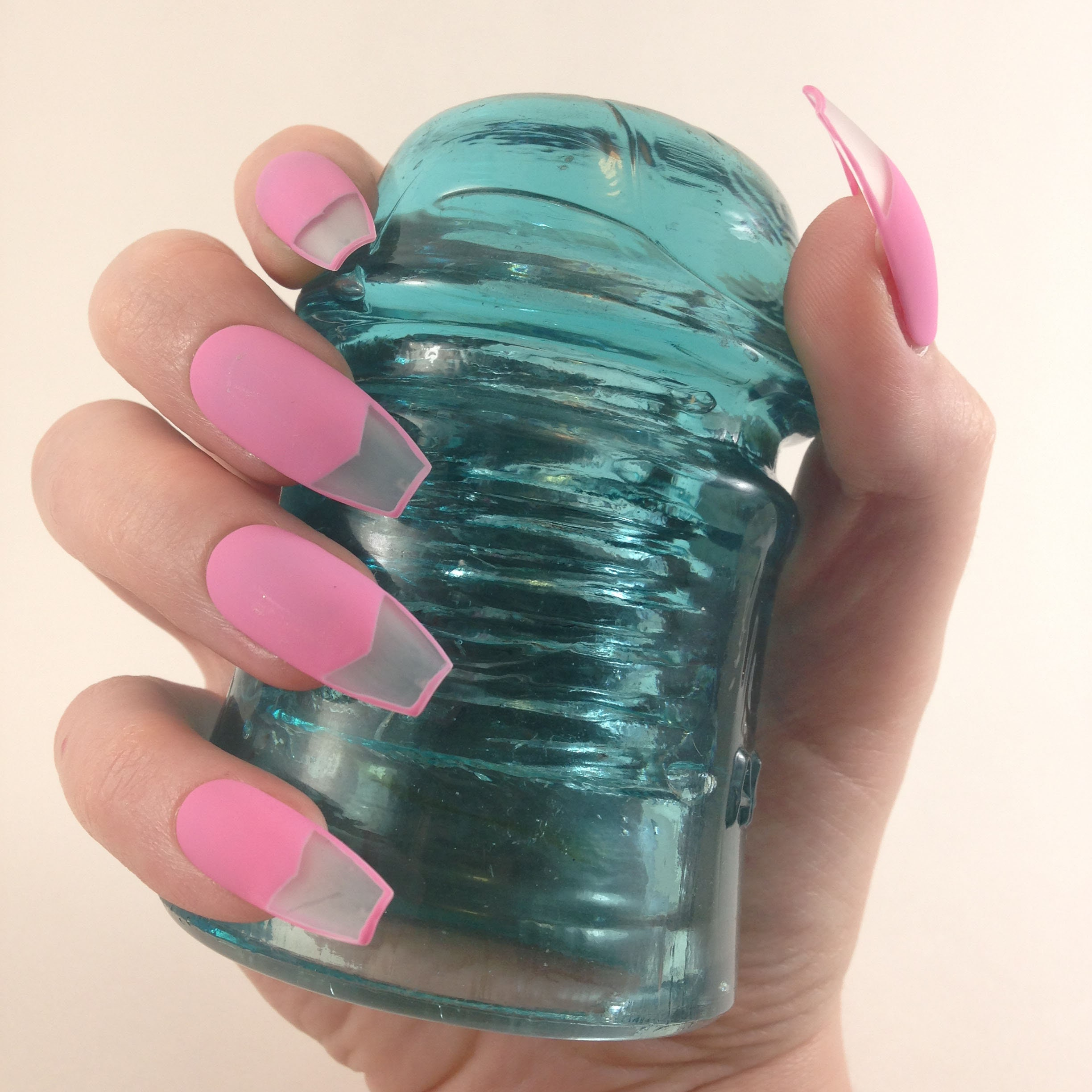 Bubble Gum Nail Art: Bubble Gum Pink W/ Clear Nail Tip Press On Nails Matte