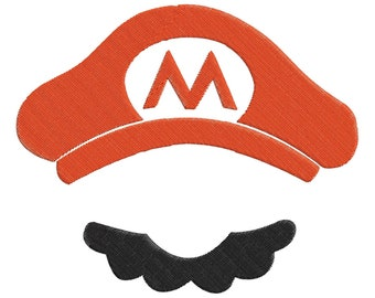 Super Mario Cap And Mustache Embroidery Design